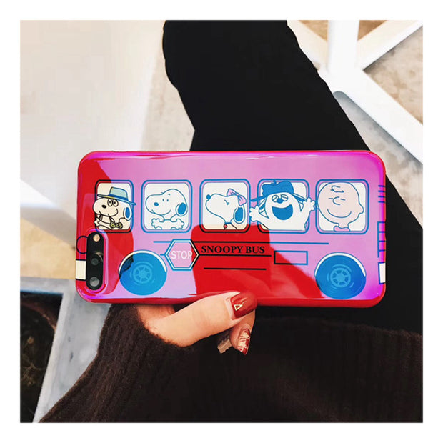 Cartoon cute animal  blu-ray TPU car bus phone case
