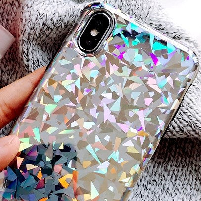 Bling Glitter Triangle Shining Flash Powder Case
