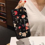 Floral Glossy Crane Wrist Strap iPhone Cases