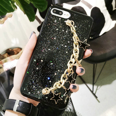 Bracelet New Fashion DIY Powder Shining Metal Chain Star Pendant Phone Case