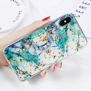 Bling Gold Powder Shard Marble Platinum Case