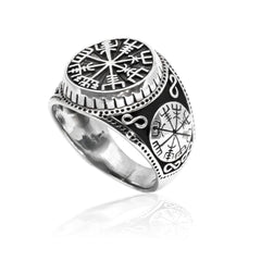 925 Sterling Silver Compass Viking Norse Ring
