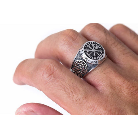 925 Sterling Silver Viking Vegvisir Runes Futhark Legendary Handcrafted Ring - Rings