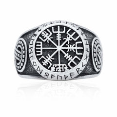 925 Sterling Silver Viking Vegvisir Runes Futhark Legendary Handcrafted Ring