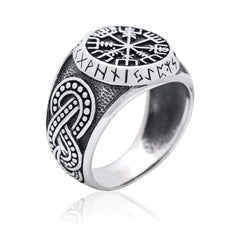 Image of 925 Sterling Silver Viking Vegvisir Runes Futhark Legendary Handcrafted Ring