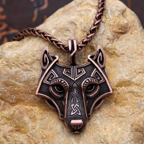 Fenrir: Norse Vikings - Necklace - Antique Copper Plated / 60Cm