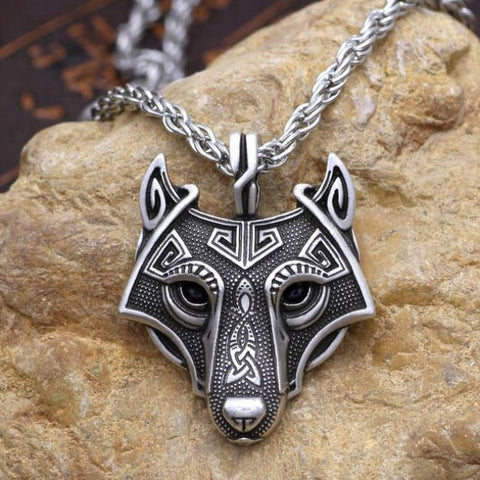 Fenrir: Norse Vikings - Necklace - Antique Silver Plated / 60Cm