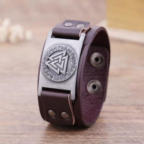Handmade Valknut - Leather Bracelet
