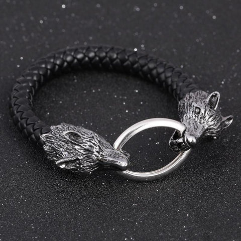 Leather Wolf Head Bracelet - Bracelet