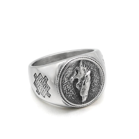 Norse Wolf Raven Ring