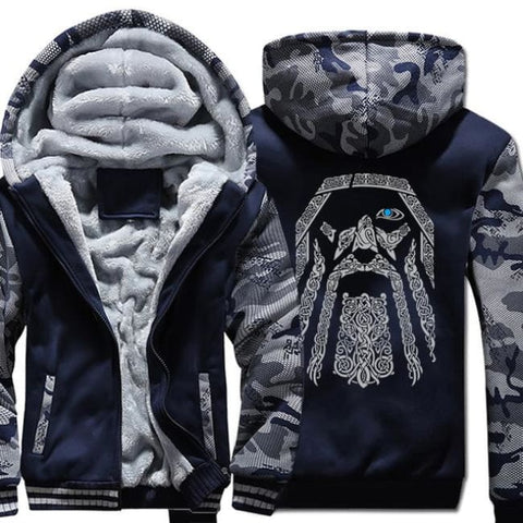 Odin Viking Camouflage Sleeve Coat - 2dark blue / M