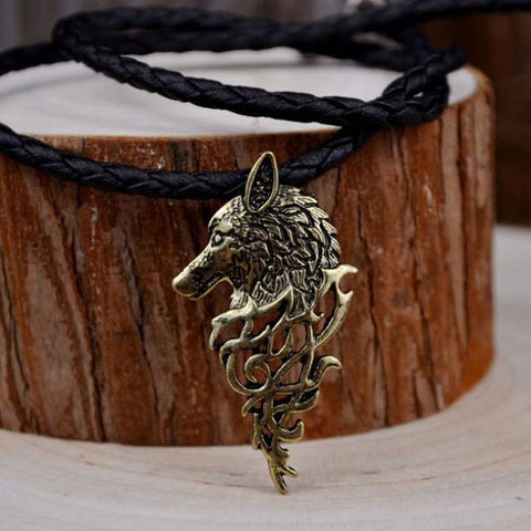Odins Wolf Head Necklace - A.B. Leather Chain / 50cm