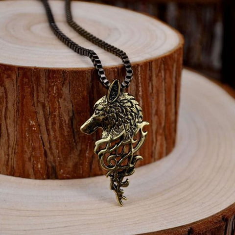 Odins Wolf Head Necklace - A.B. Metal Chain / 50cm