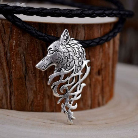 Odins Wolf Head Necklace - A.S. Leather Chain / 50cm