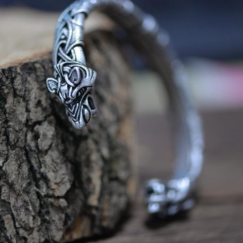 Viking Bracelet and Bangle Wolf Head Bracelet For Men and Women Talisman