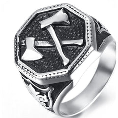 Stainless Steel - Viking Battle Axe Ring