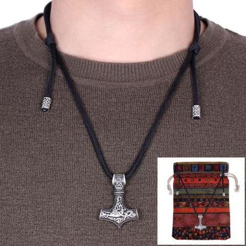 Thor Hammer Adjustable Paracord Chain Necklaces - Black