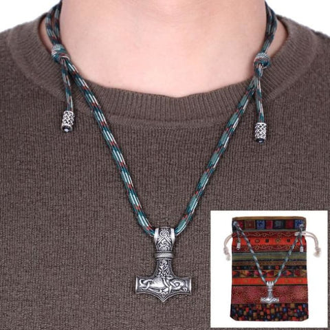 Thor Hammer Adjustable Paracord Chain Necklaces - Camo Green