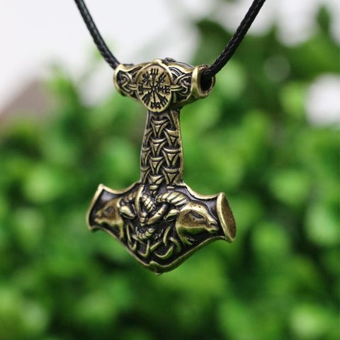Thors Goat Hammer Pendant Necklace With Viking Compass - Pendant