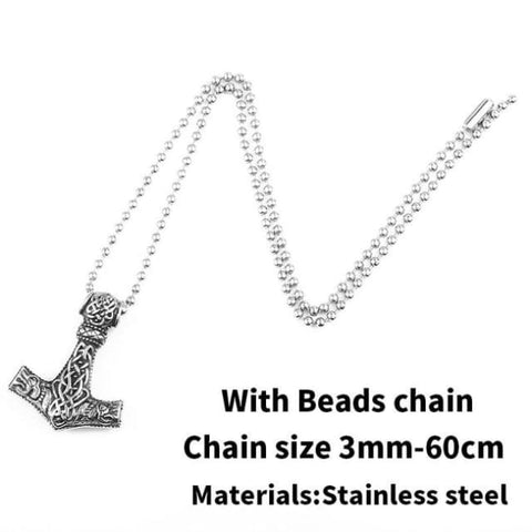 Thors Hammer - Mjolnir - Necklace (316L Stainless Steel) - With Beads Chain