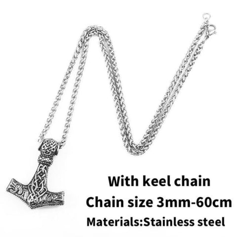Thors Hammer - Mjolnir - Necklace (316L Stainless Steel) - With Keel Chain