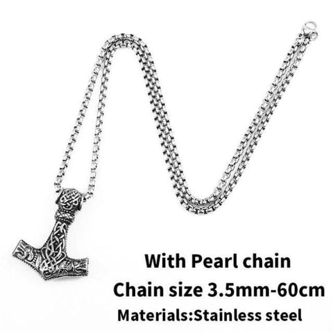 Thors Hammer - Mjolnir - Necklace (316L Stainless Steel) - With Pearl Chain