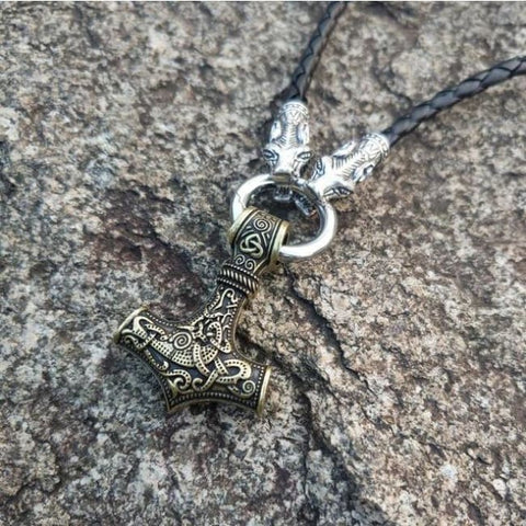 Thors Hammer with wolf Head Necklace - Leather A-2