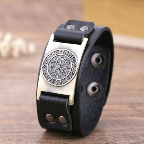 Vegvisir Viking - Handmade Leather Bracelet - Black-Bronze / Real Leather