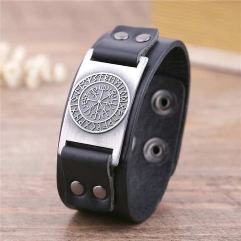 Vegvisir Viking - Handmade Leather Bracelet - Black-Silver / Real Leather