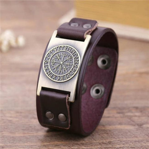 Vegvisir Viking - Handmade Leather Bracelet - Brown-Bronze / Real Leather