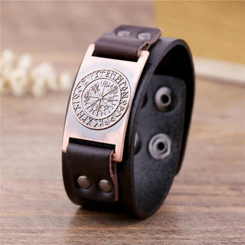 Vegvisir Viking - Handmade Leather Bracelet - Brown-Copper / Real Leather