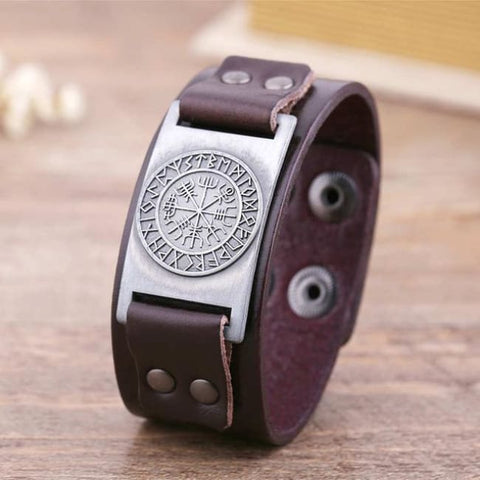 Vegvisir Viking - Handmade Leather Bracelet - Brown-Silver / Real Leather