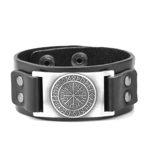Vegvisir Viking - Handmade Leather Bracelet