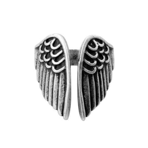 Viking Raven Wing Ring - Resizable / Antique Silver - Rings