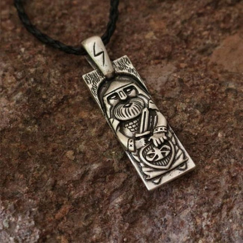 Warrior Of Valhalla With Sword Pendant - Silver - Pendant