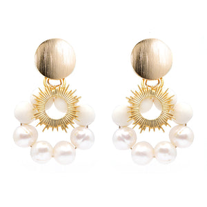 summer white & gold earrings