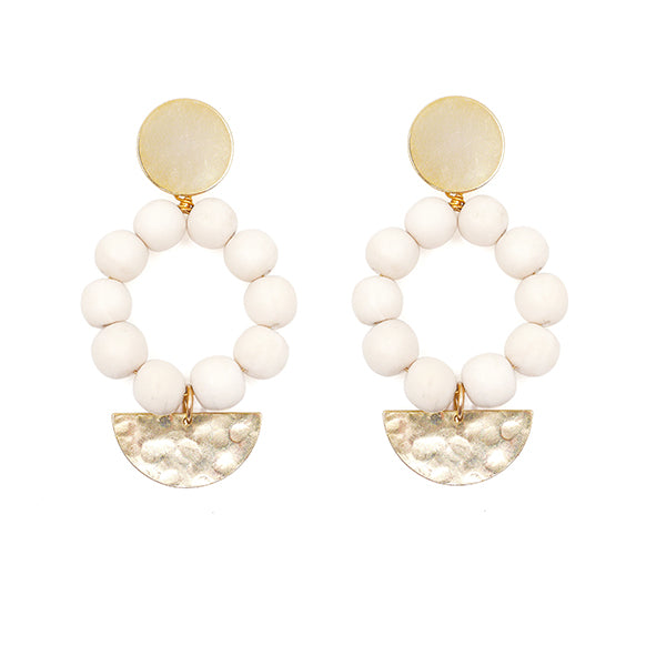 White wooden bead & gold pendant earrings