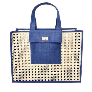 THE CHRISTY Blue Woven Shopper Tote
