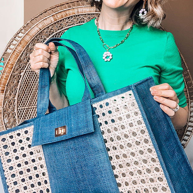 THE CHRISTY Blue Woven Shopper Tote 1