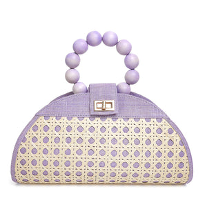 THE ISABELLA Lilac Rattan Woven Bag