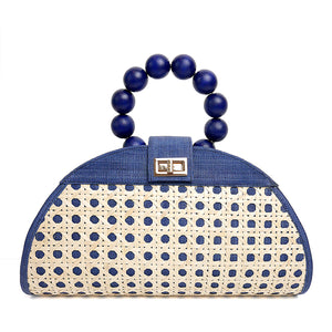 THE ISABELLA Navy Blue Rattan Woven Bag