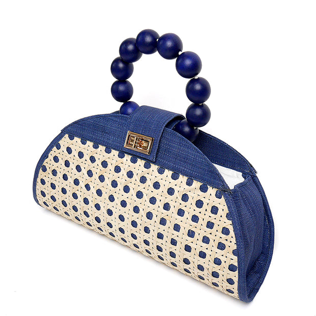 THE ISABELLA Navy Blue Rattan Woven Bag 1