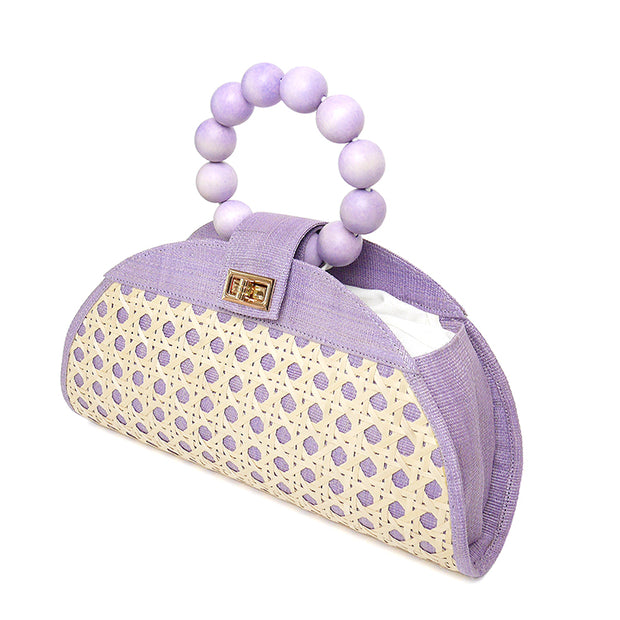 THE ISABELLA Lilac Rattan Woven Bag 1