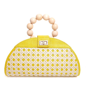 THE ISABELLA Yellow Rattan Woven Bag
