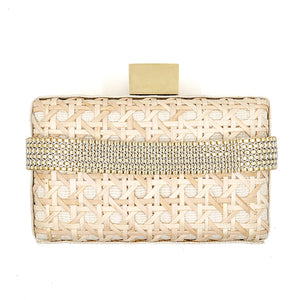 THE SOPHIA Cream Rattan Weave Box Clutch Bag
