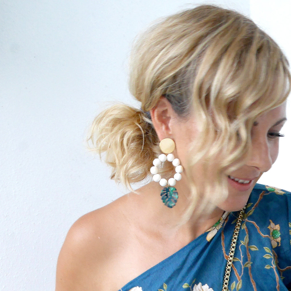 THE LOLA Tropical Leaf Statement Earrings