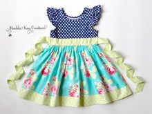 Load image into Gallery viewer, Baby, Toddler, and Girls Tallulah Blue Knit Bodice Dress