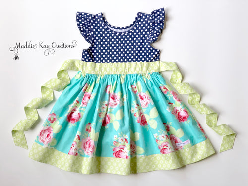 Baby, Toddler, and Girls Tallulah Blue Knit Bodice Dress