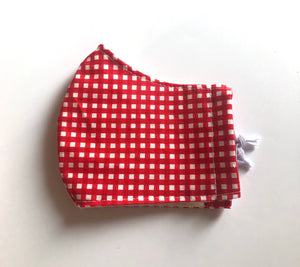 Kids Red Gingham Mask