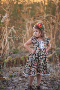 Charcoal Blooms - Toddler & Girls Floral Dress